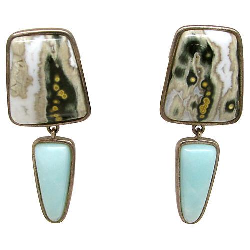 Jasper & Howlite Sterling Earrings