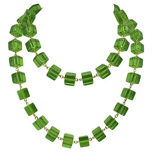 1980s KJL Green Lucite Bead Necklace