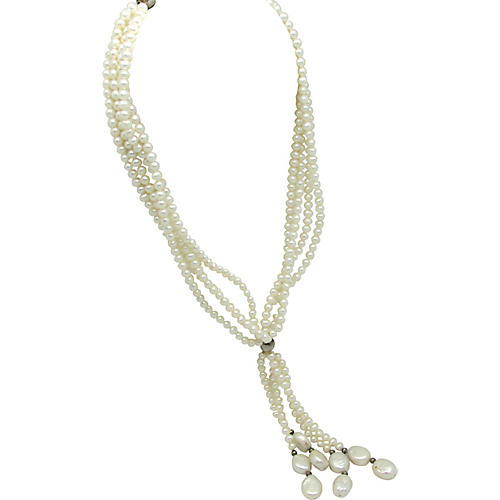Multi Strand Pearl Necklace W/Tassel