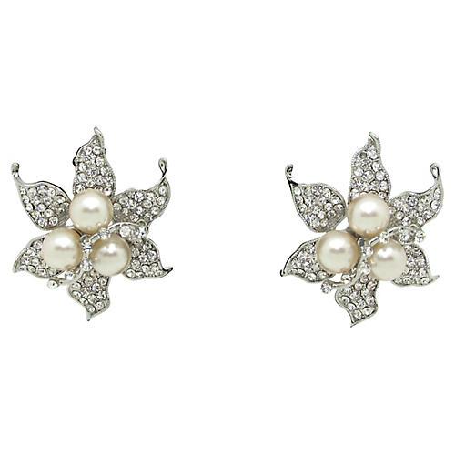 Flower Earrings W/Pearls & Rhinestones