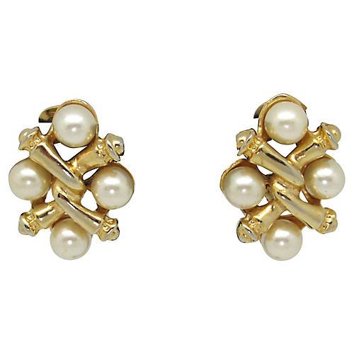 1980s Criss Cross Faux-Pearl Earrings