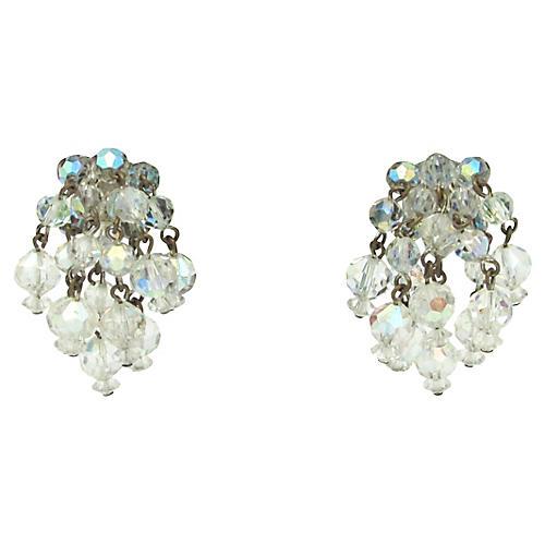 1950s Crystal Bead Fringe Earrings