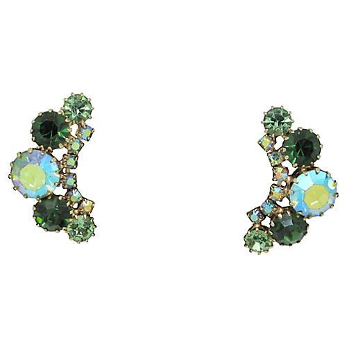 1950s Weiss Green Rhinestone Earrings