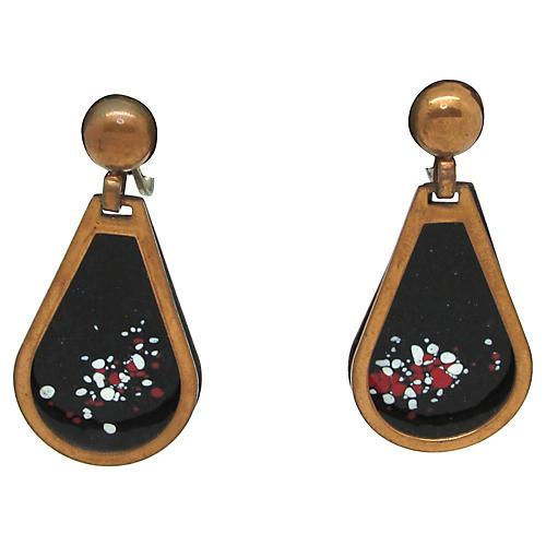 Enamel & Copper Pendulum Earrings