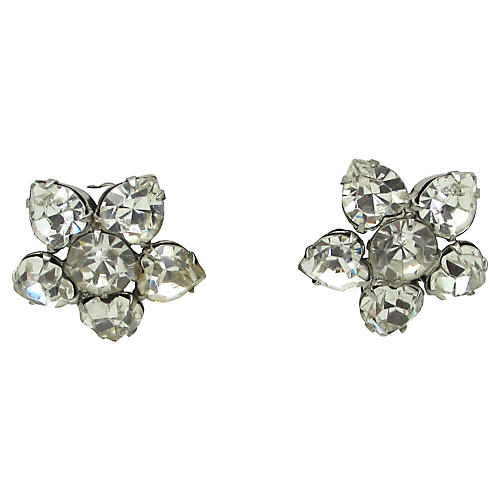 1950s Weiss Floral Rhinestone Earrings