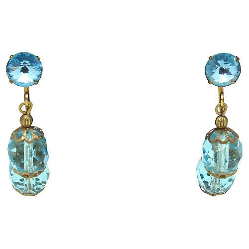 50s Aquamarine Glass Chandelier Earrings