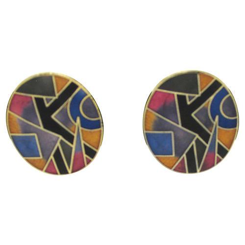1980s Modern Enamel Earrings