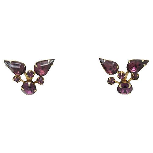 1950s Amethyst Rhinestone Earrings