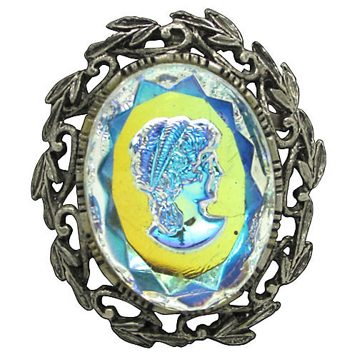 Intaglio Iridescent Glass Brooch