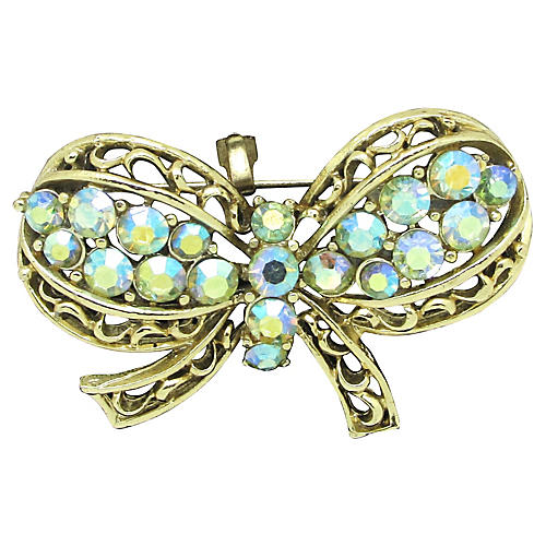 Coro Filigree Rhinestone Bow Brooch