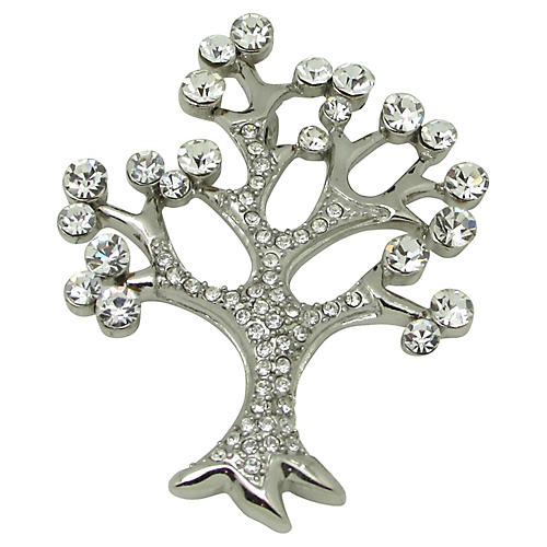 Rhinestone Tree of Life Brooch