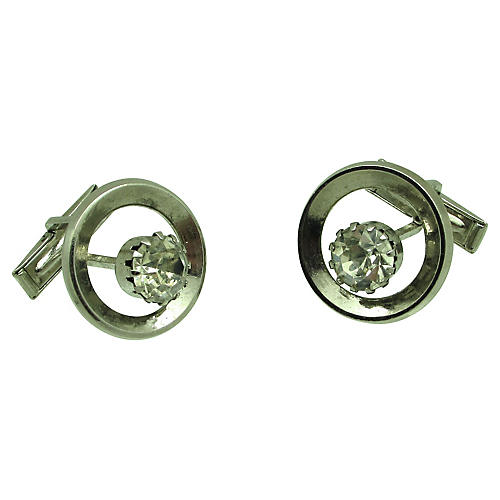 Concentric Circle Rhinestone Cuff Links
