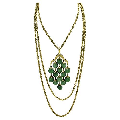 Trifari Festoon Necklace w/ Jade Glass
