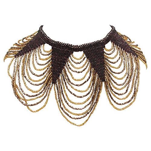 Handwoven Glass Bead Festoon Necklace