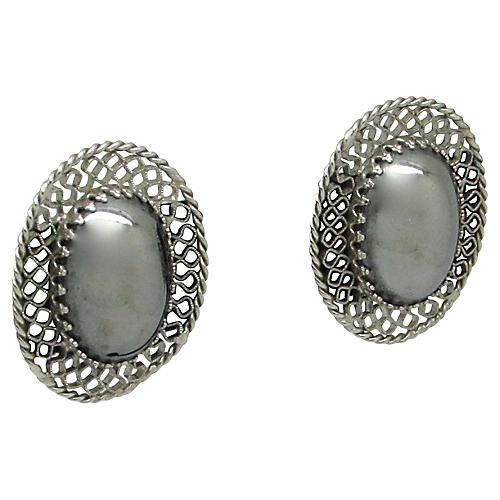 Whiting & Davis Metallic Glass Earrings