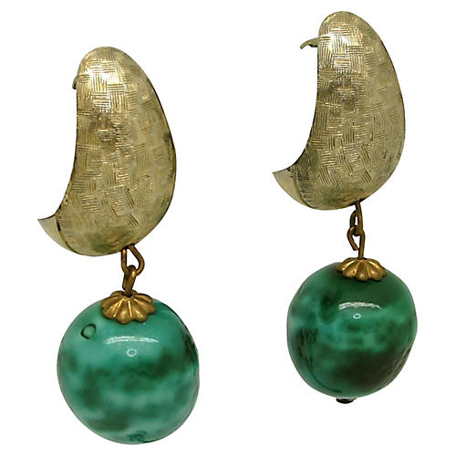 Demi-Hoop Earrings w/ Ceramic Bead Drops