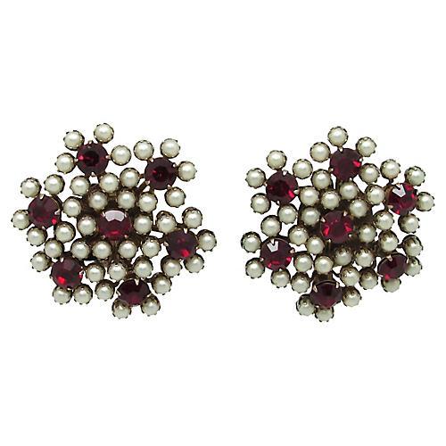 Ruby Glass & Faux-Pearl Earrings