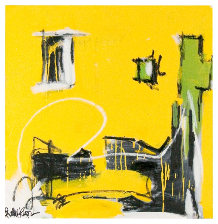 Yellow & Black Abstract by Robbie Kemper