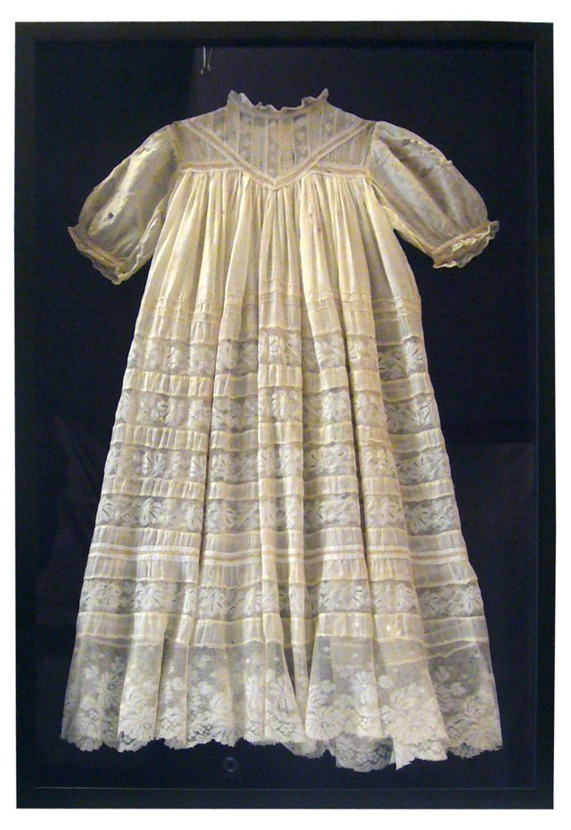 Framed Antique Baby Gown