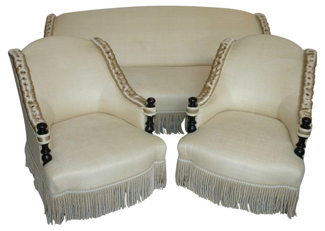 Art Deco Silk-Upholstered Set, 3 Pcs