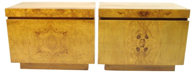Burl-Front Nightstands by Lane, Pair
