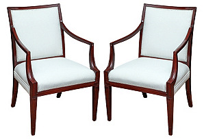 English Regency Revival Armchairs, Pair