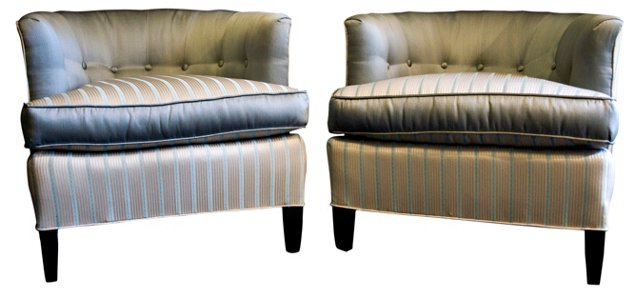 Gray Silk Tufted-Back Side Chairs, Pair
