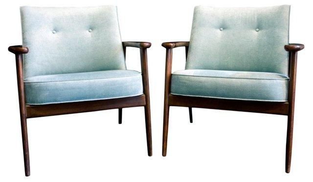 Danish Modern Chairs, Pair