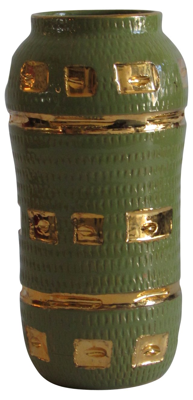 Italian Midcentury Green & Gold Vase