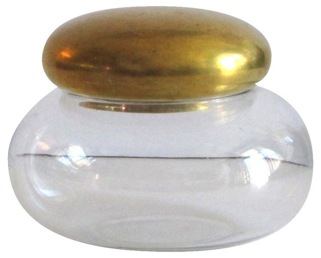 Vanity Jar w/ Brass Lid