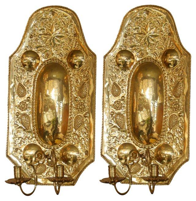 19th-C. Brass Reflectors, Pair
