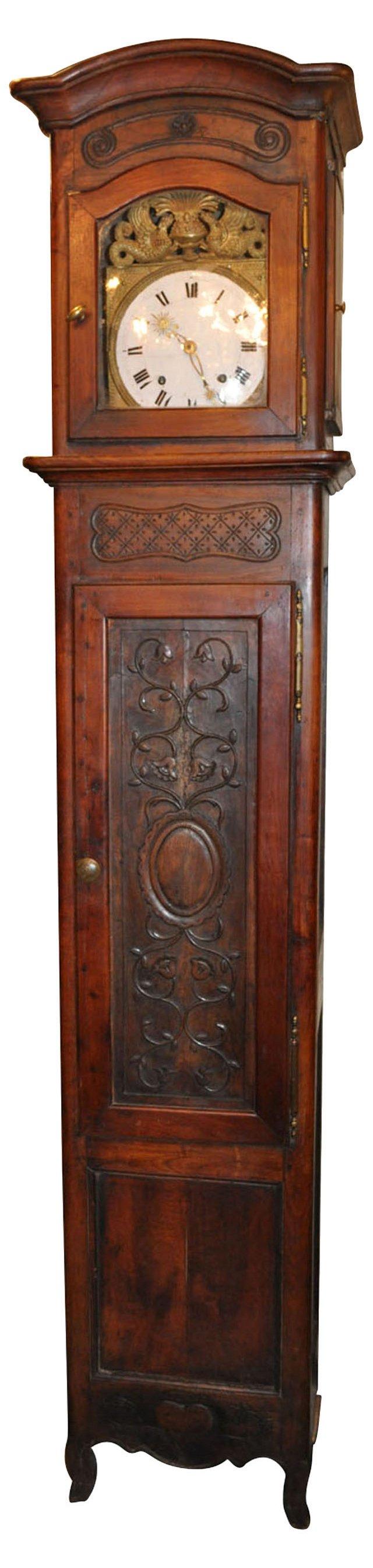 18th-C. French Walnut Case Clock