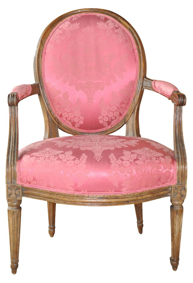 French Fauteuil w/ Pink Upholstery