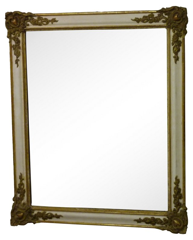 White Mirror w/ Gilt Corners