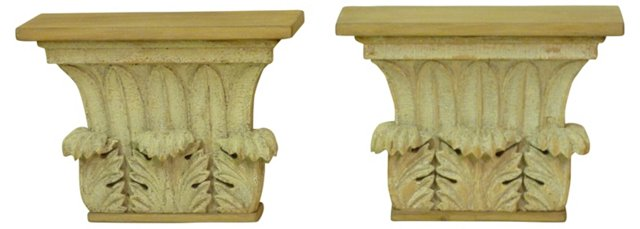 Carved Capital Brackets, Pair