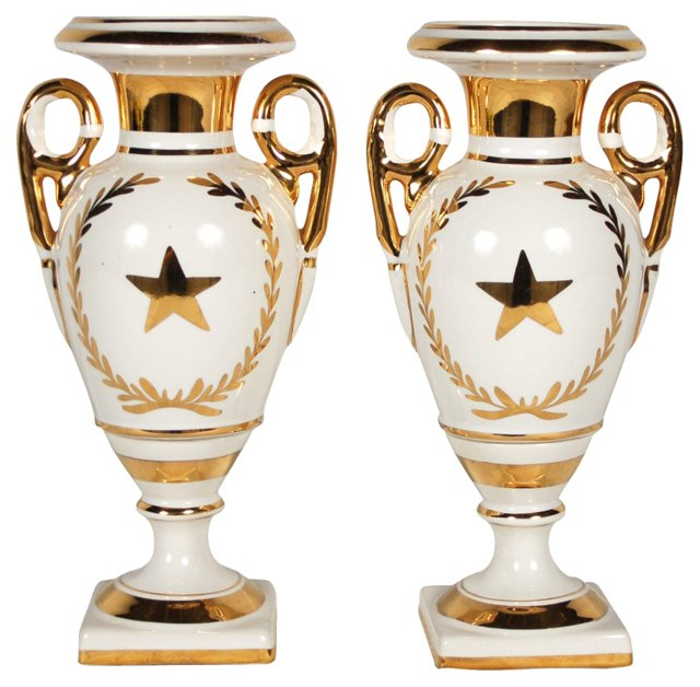 French Porcelain Urns, Pair