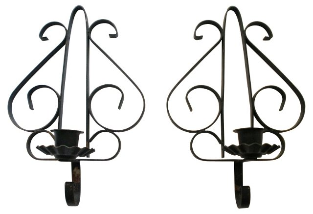 Spanish-Style Iron Sconces, Pair