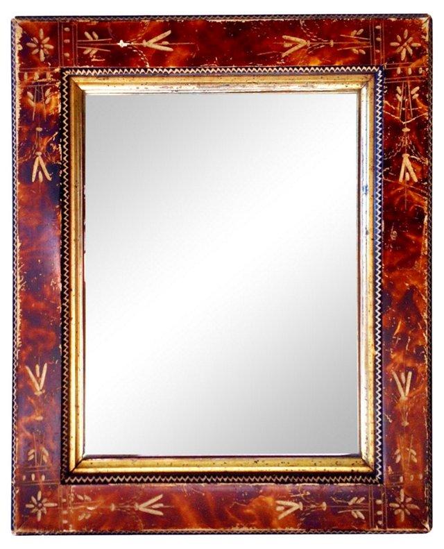 Antique Faux-Tortoise Mirror
