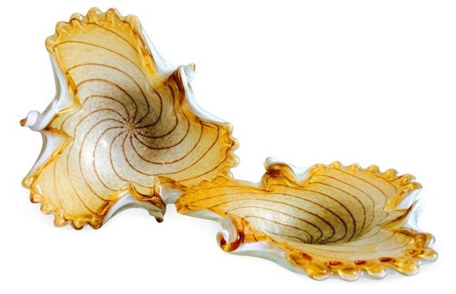 Murano Glass Gold Fleck Bowls, Pair