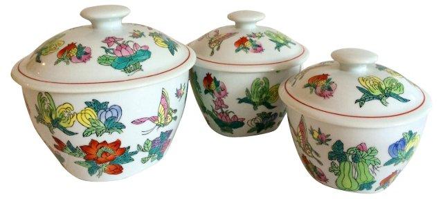 Butterfly Garden Serving Bowls, Set of 3