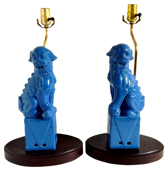 Blue Foo Dog  Lamps, Pair
