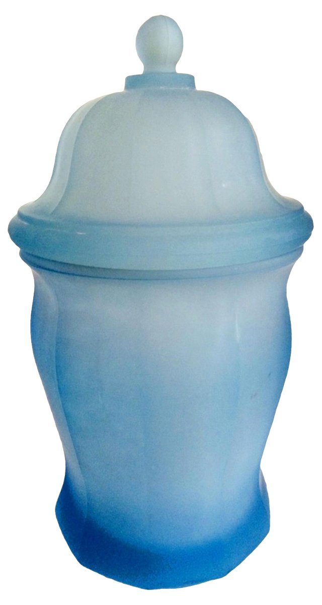 Blue Satin Glass Canister