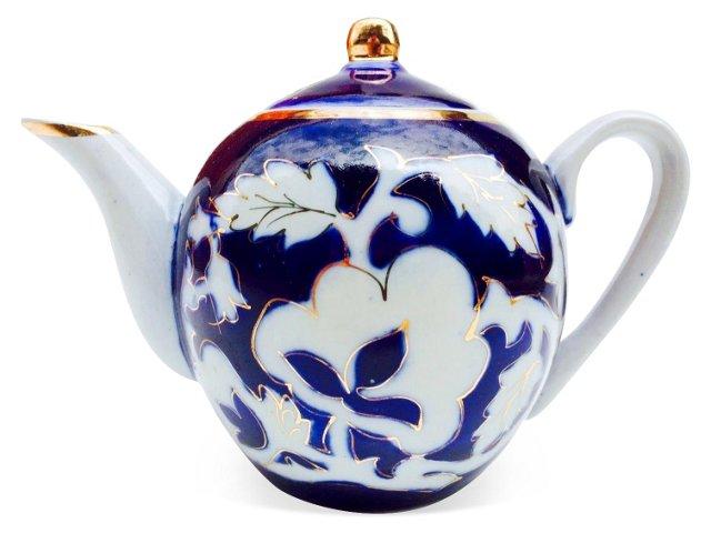 Antique Cobalt & White Teapot