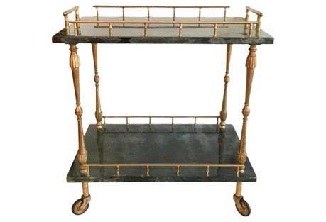 Aldo Tura Italian Goatskin Bar Cart