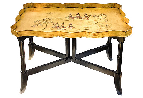 Chinoiserie Faux-Bamboo Tole Tray Table
