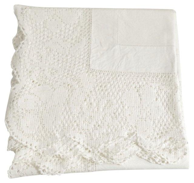 Crochet & Floral Tablecloth