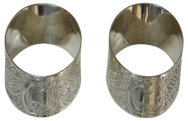 Sterling Silver Napkin Rings, Pair