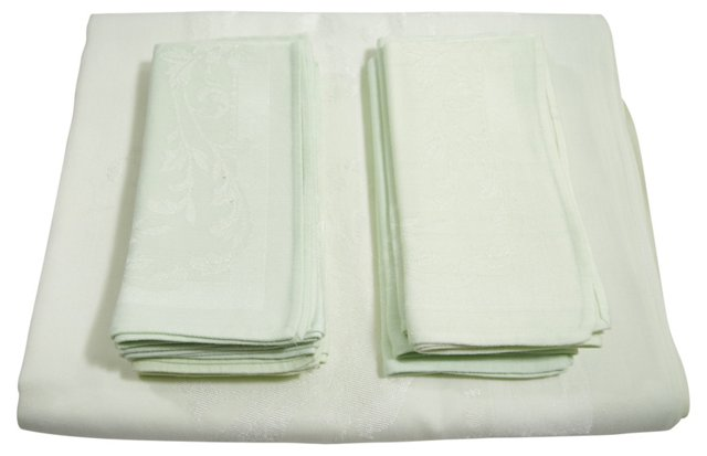 Green Damask Tablecloth & 8 Napkins