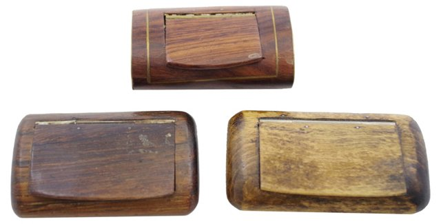 Wooden Snuff Boxes, Set of 3