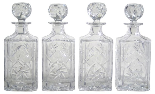 Crystal Decanters, Set of 4